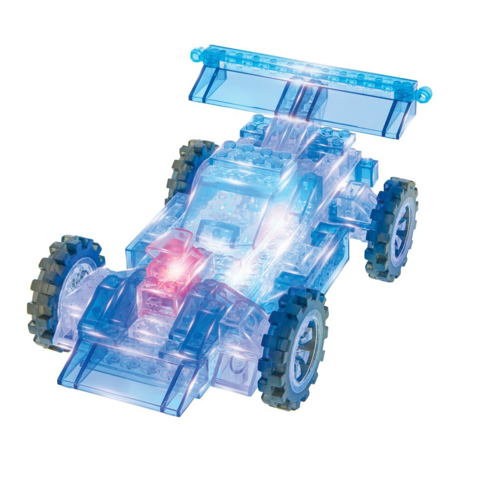 Light up the raceway with this totally awesome 8-1 race car kit. Spark your kids imagination as they build a car that glows with LED lights.