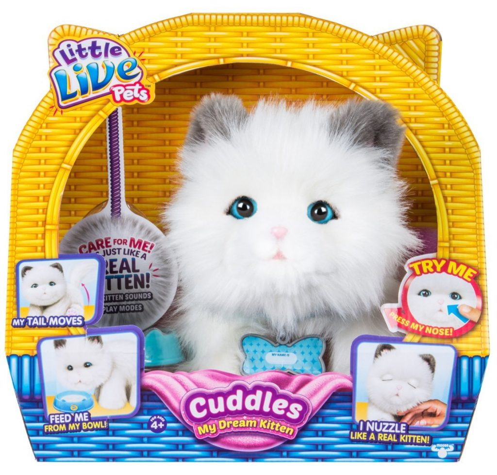 If you aren't ready to give your kid a pet animal but want them to have a pet experience, get them the Little Live Cuddlers Kitten. It snuggles, purrs when it's petted and open and shuts its eyes. It's like a real kitten except minus the cat litter clean up.