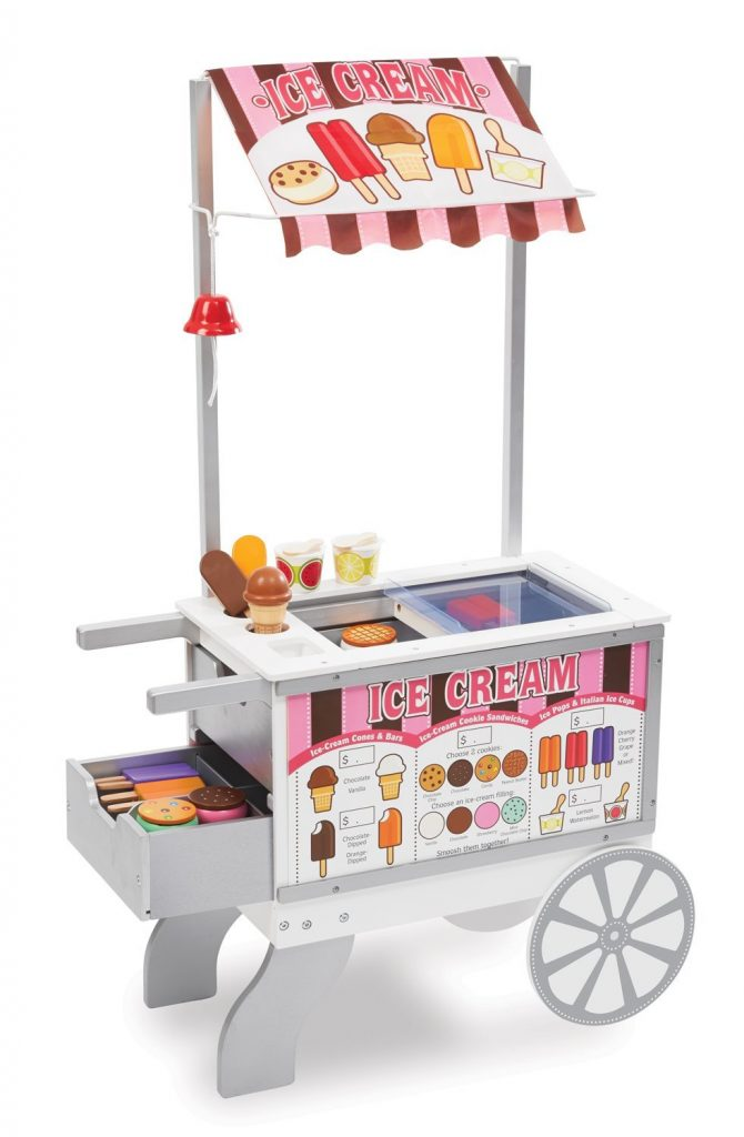 Vanilla or Chocolate? Dish up some delicious ice cream with this rolling ice cream cart. Let your child imagine playing the server or customer for fun interactive play time.