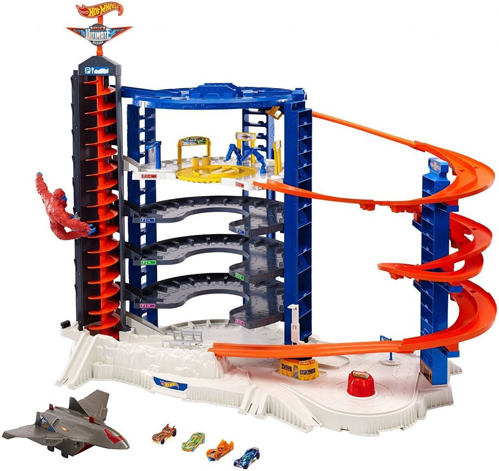 Get ready to have fun with the most epic Hot Wheels play set of all. Take your cars up the elevator and come back down the spiral ramp while trying to avoid the chomping shark. Once your done, head on over to the gas station and then park your car in one of thirty six slots.