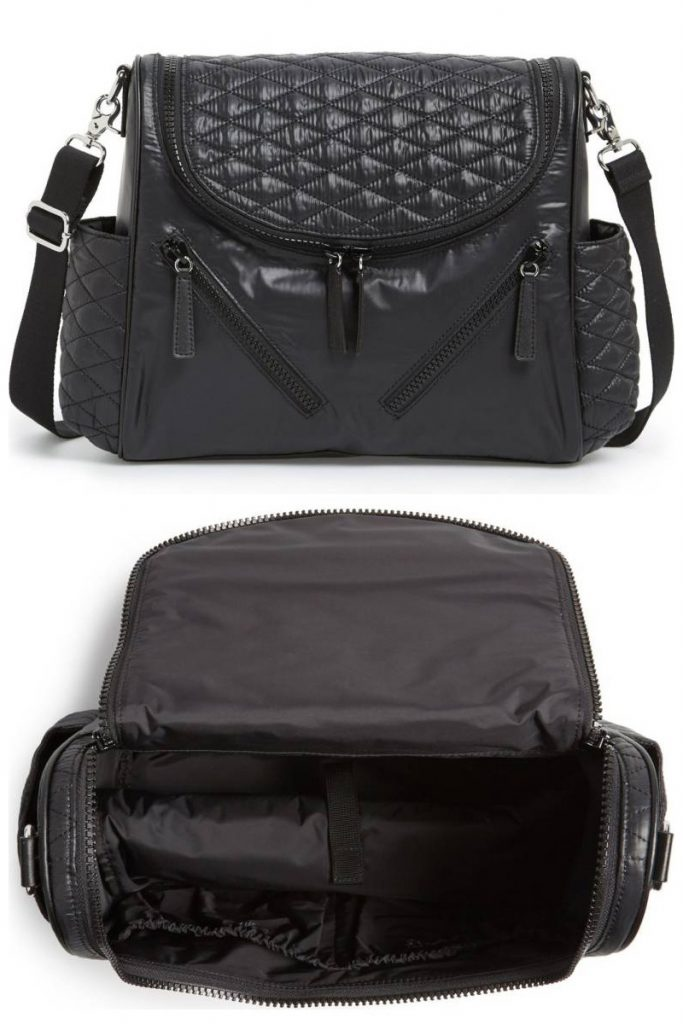 Rebecca Minkoff stylish diaper bags for trendy moms who don't want to look like they are wearing a purse.