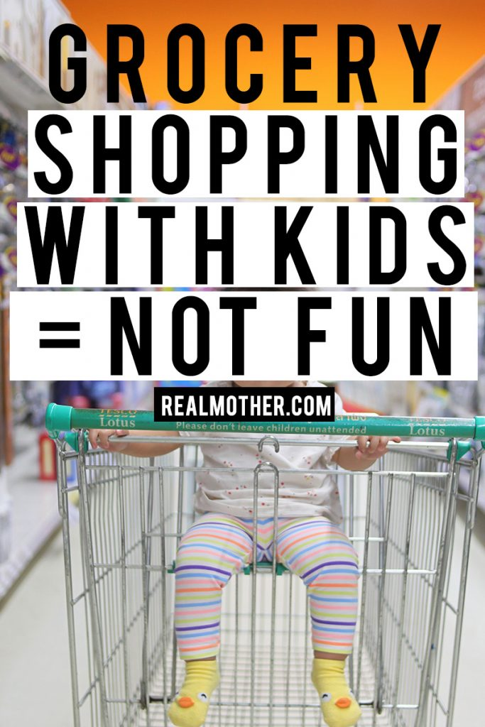 grocery shopping with kids is not fun and can be really hard for mothers at any stage.