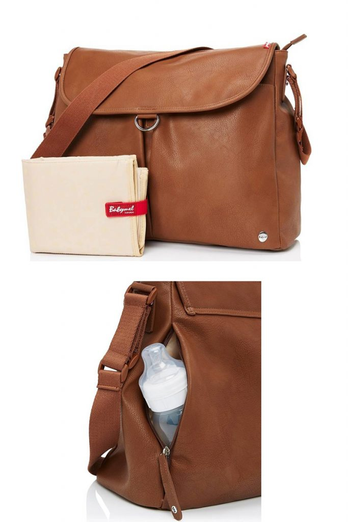 tan faux leather stylish diaper bags for moms who don't want to look like they are wearing an actual purse